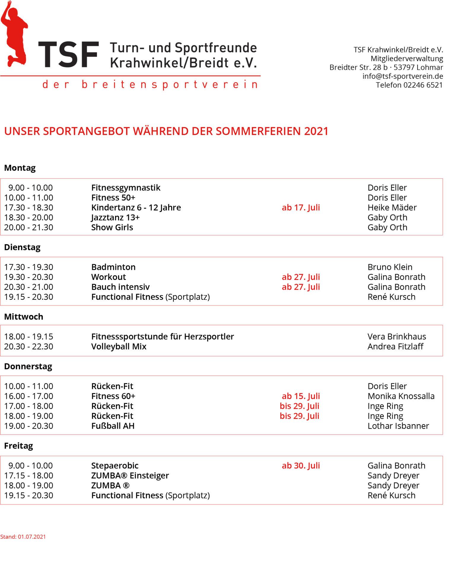 TSF-Sportangebot Sommerferien 2021